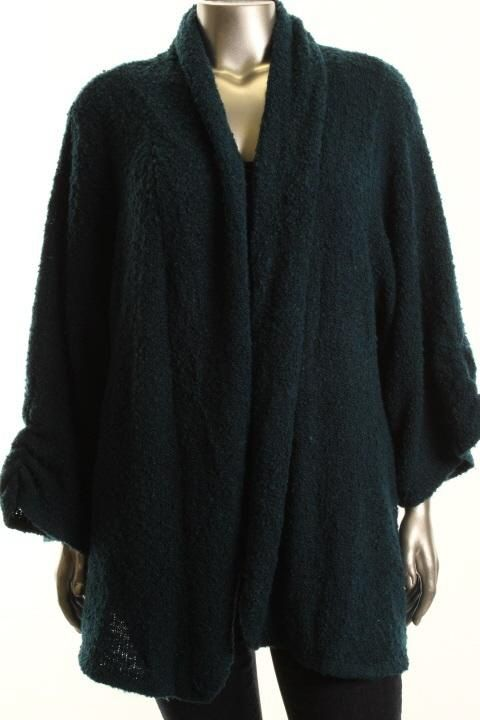 Karen Scott New Blue Boucle Long Sleeve Cardigan Sweater Plus 2X BHFO