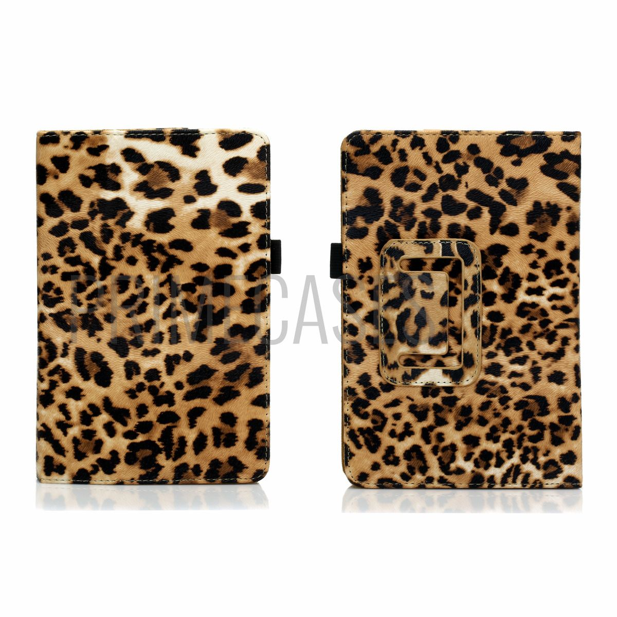 Leopard PU Leather Case Cover for Kindle Fire 7 with Screen Protector