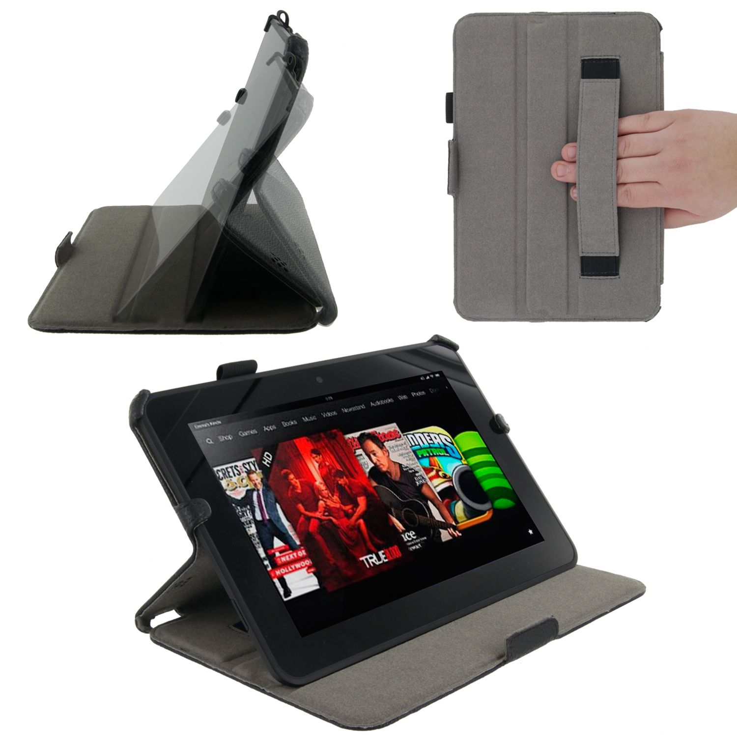 Slim Fit Folio Case Cover Stand for  Kindle Fire HD 8.9, Black