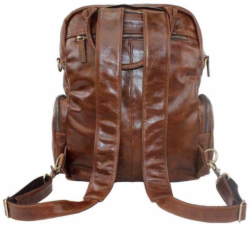 Men Ladies Women Genuine Cowhide Leather Travel Bag Backpack Laptop 14