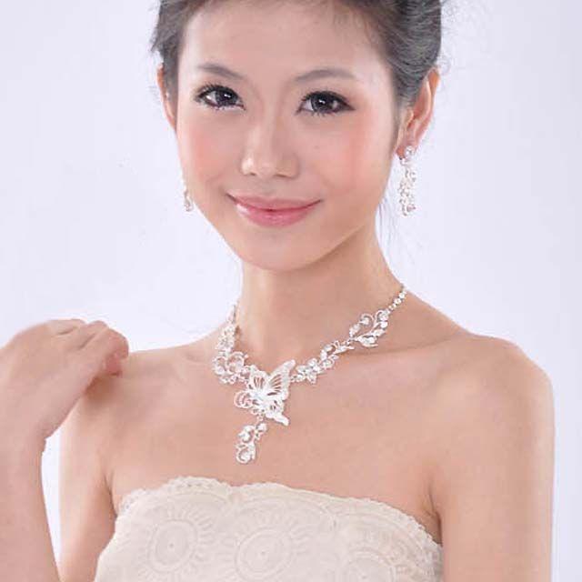 Bridal Butterfly Rhinestone Crystal Necklace Earring Set Hair Tiara