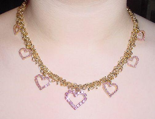 Vasari Valentines Pink Heart Neck Earring Set with Swarovski Crystals