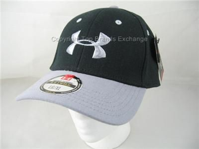 Mens Under Armour Black Gray Baseball Cap Hat Lid HeatGear Running