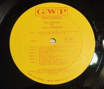 1966 The Poetry of Maya Angelou Vinyl LP Record Album Stamped Promo
