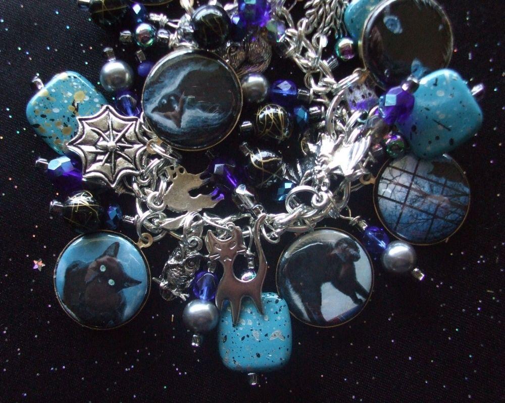 Black Cats in Midnight Blue Charm Bracelet