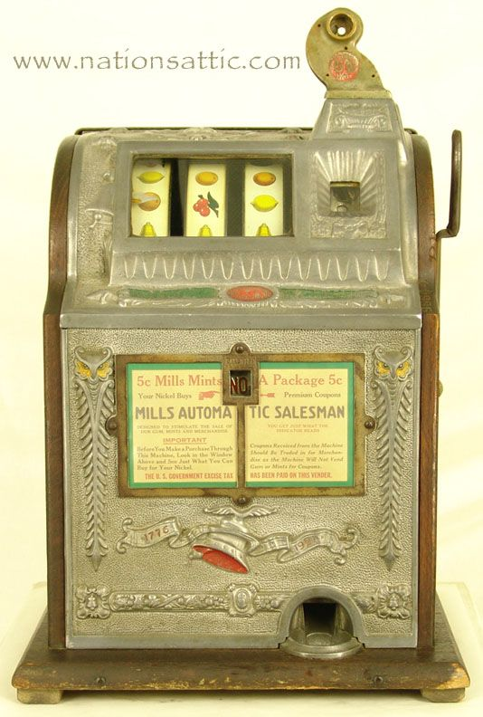 1923 Mills Novelty Automatic 5c Salesman Antique Slot Machine