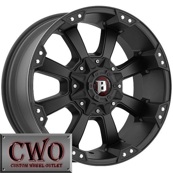 20 Black Ballistic Morax Wheels 8x165 1 8 Lug Chevy GMC 2500HD Dodge