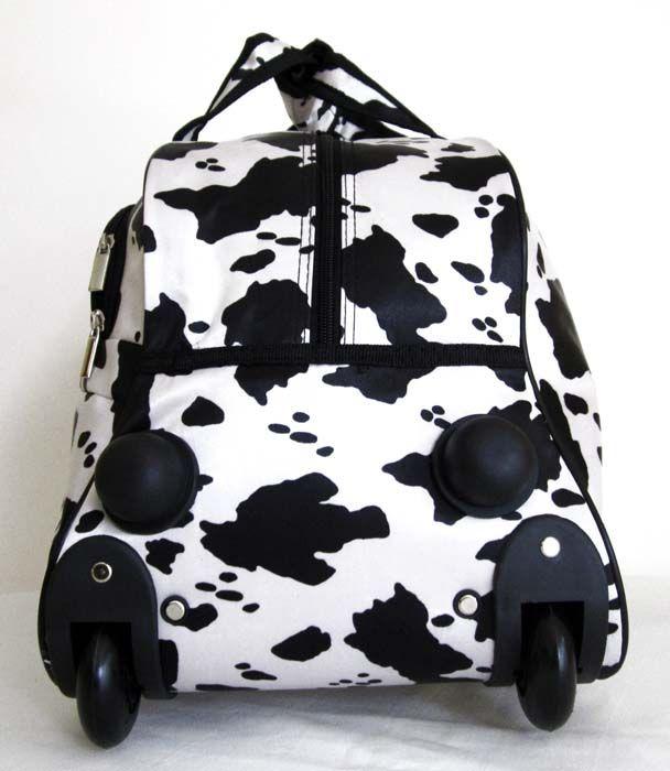 25 Duffel Tote Bag Rolling Luggage Case Wheel Purse Black White Cow