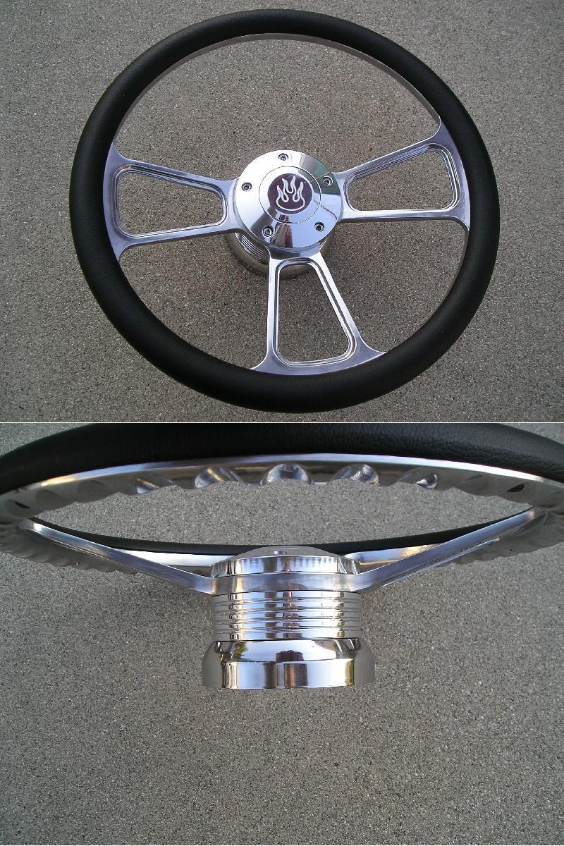 1969 94 CAMARO CHEVY Billet steering wheel & Billet adapter with Flame