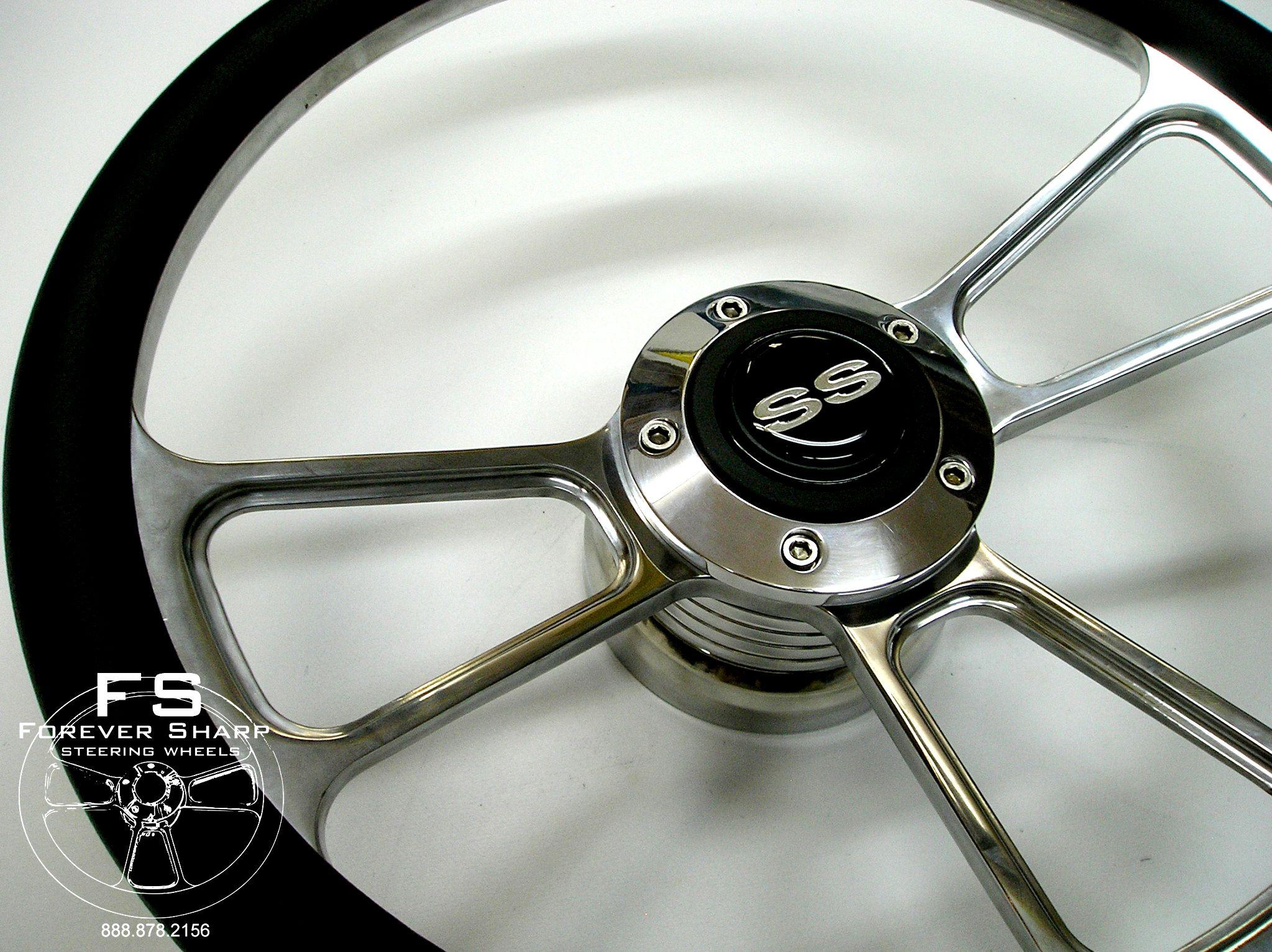 14 Billet Steering Wheel Black Halfwrap Set SS Horn Button Chevy