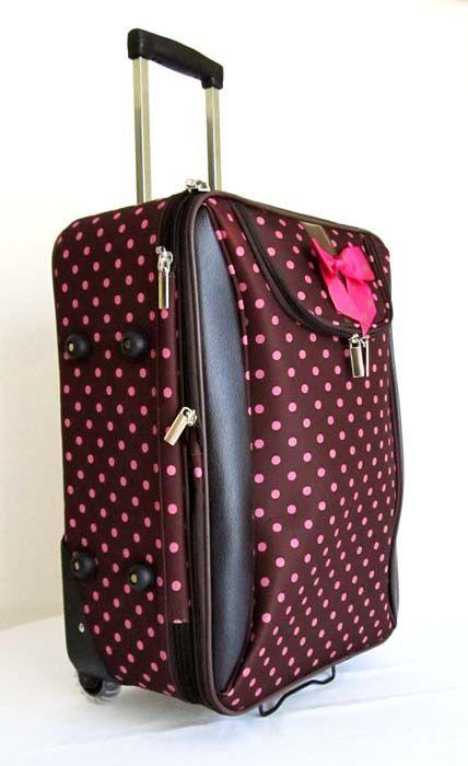 Piece Luggage Set Travel Bag Rolling Wheel Pink Dots