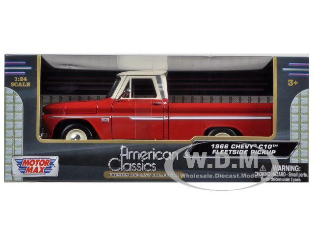 1966 Chevrolet C10 Fleetside Pickup Truck Red Cream 1 24 by Motormax