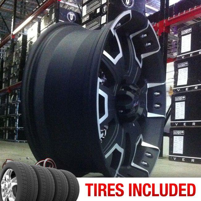 22 Ballistic 904 5x150 35 CB 110 Wheels Tires Rims Flat Black