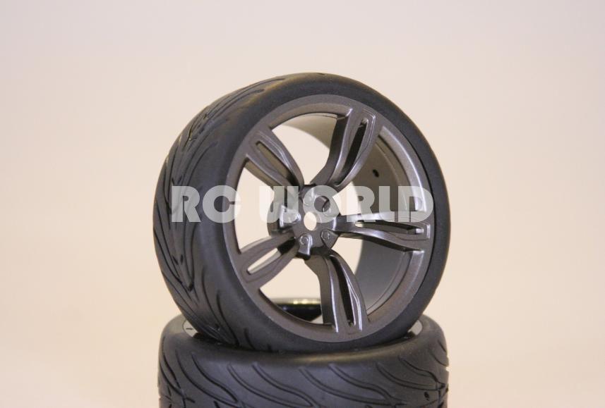 10 Car Tires Gun Metal Wheels Rims Package Kyosho Tamiya HPI