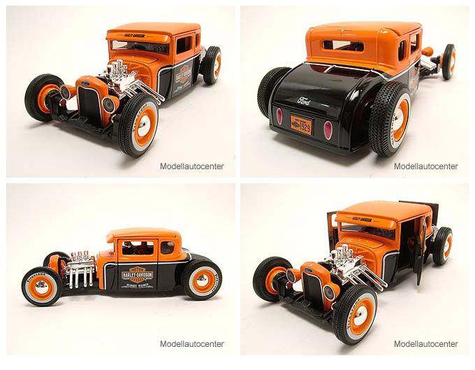 Ford Model A 1929 Hot Rod Harley Davidson schwarz/orange, Modellauto 1