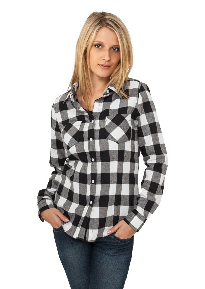 URBAN CLASSICS  Ladies Checked Flanell Shirt (black/white)   TB388