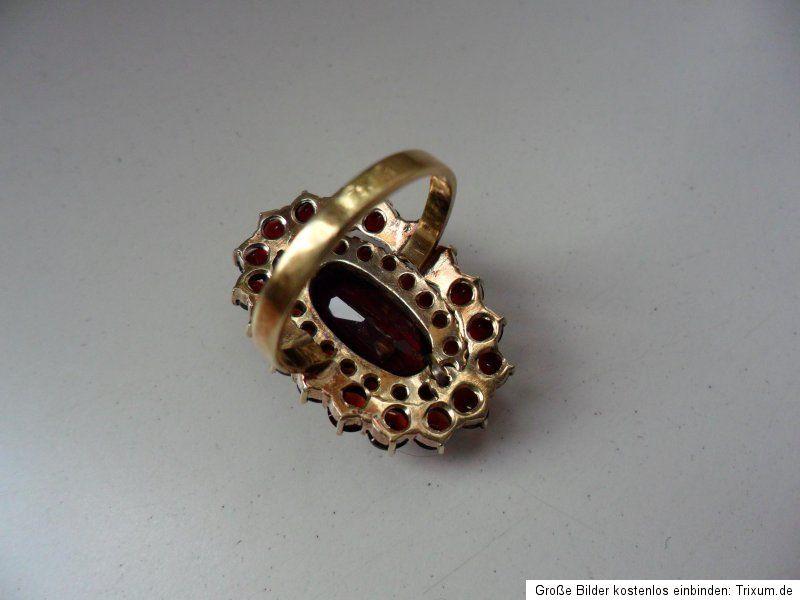 Wunderschöner Granat 333 Gold Ring 3 Stufen Größe 55 Granatschmuck