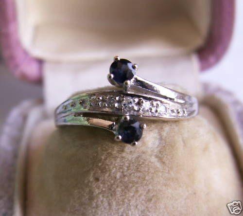 Saphirring Goldring 585 er Gold Ring Weißgold Saphir Diamanten
