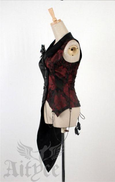 Punk Rave Visual Kei Lolita Gothic Weste asymmetrisch schwarz rot