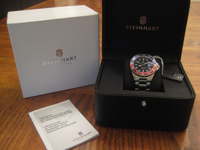 STEINHART OCEAN ONE GMT PEPSI FULL SIZE AUTOMATIC BOX & PAPERS MINT