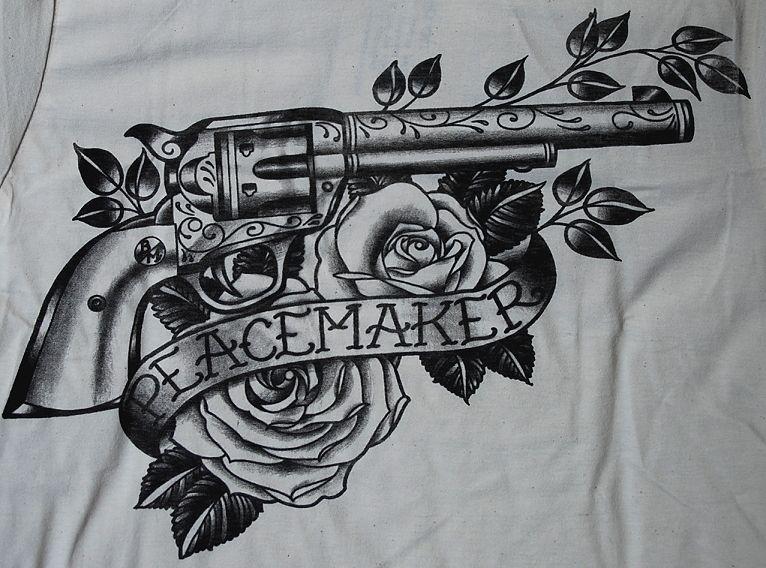Peacemaker TATTOO SHIRT Gun Colt Revolver Black Market Western Country