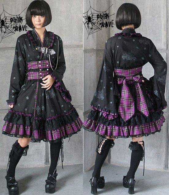 Mode VISUAL PUNK rave Gothic Lolita Kimono Rock NANA kera emo Kleid